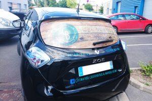 marquage véhicule voiture microperforé célinatue coiffure communication covering