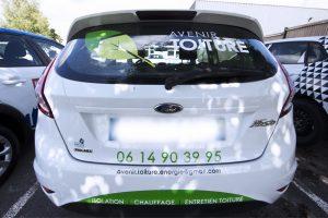 marquage véhicule voiture film adhésif vinyle avenir toiture energie communication publicité