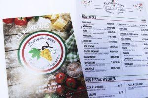 flyers cartes menu la grappe a pizza conception graphique design impression communication publicité