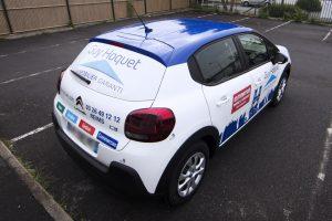 marquage véhicule voiture semi covering guy hoquet immobilier adhésif communication publicité