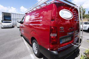 marquage véhicule utilitaire fourgon adhésif plomberie champenoise communication publicité